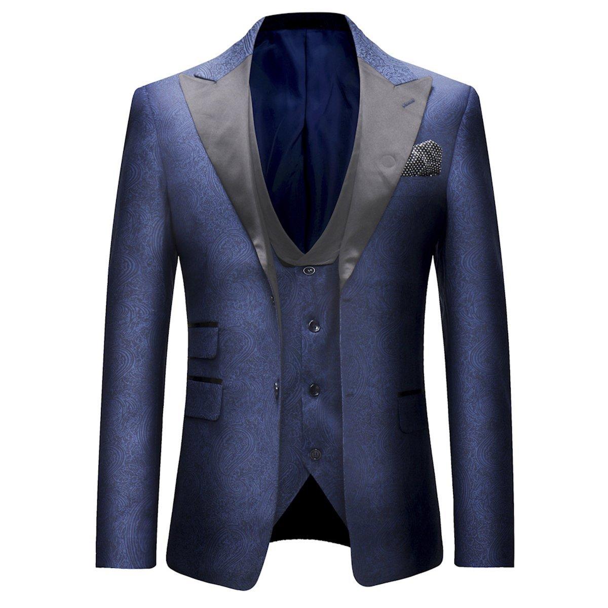 0a2f877ba9 Boyland Mens 3 Piece Tuxedo Suits Jacquard Wedding Formal Wear Trouser at  Amazon Men's Clothing store: