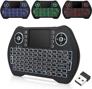 Zedo - Mini Teclado inalámbrico retroiluminado 2,4 G, Mando a Distancia de Mano con ratón táctil para Android TV Box, Windows PC, HTPC, IPTV, Raspberry Pi, Xbox 360, PS3, PS4 (Negro): Amazon.es: Electrónica