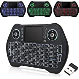 Zedo Backlit Mini Wireless Keyboard 2.4G, Handheld Remote with Touchpad Mouse for Android TV Box, Windows PC, HTPC, IPTV, Raspberry Pi, XBOX 360, PS3, PS4(Black)
