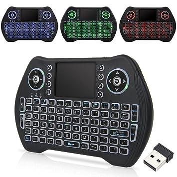 QQPOW Teclado inalámbrico, Colorido Teclado retroiluminado inalámbrico Mini, portátil con ratón Touchpad para Android