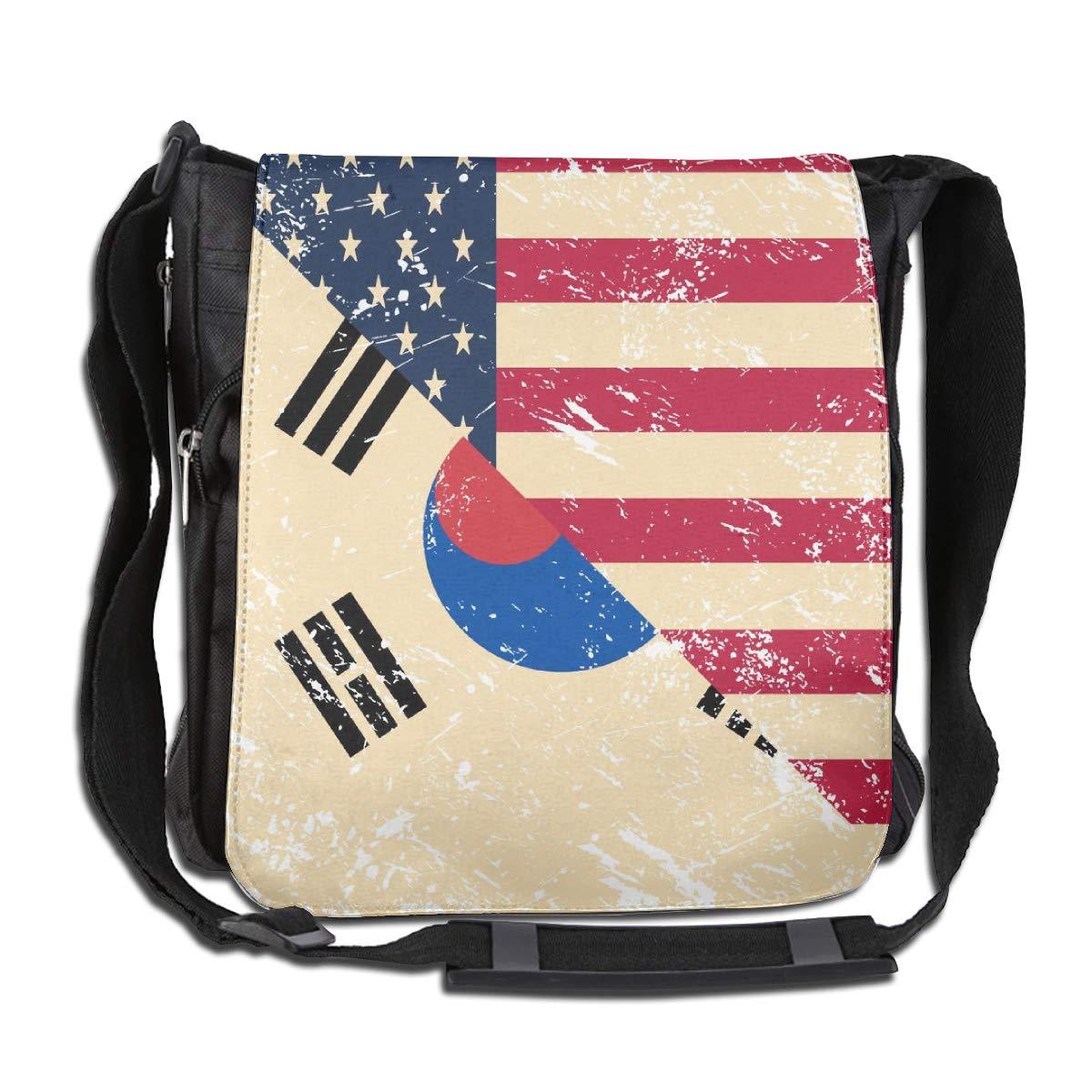 American And South Korea Retro Flag Crossbody Shoulder Bag Adjustable Casual Daily Messenger Bag Satchel School Bag For Women And Men