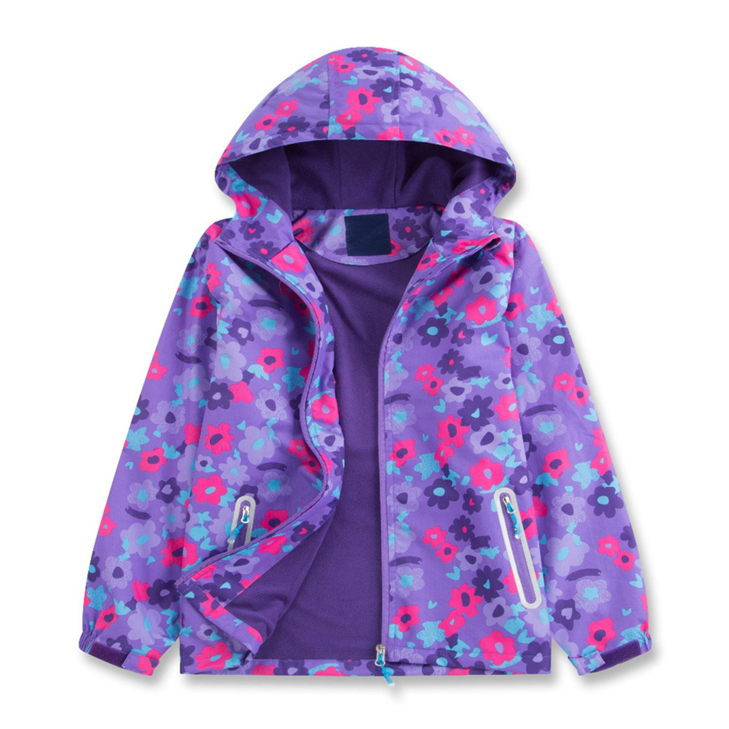Star Flower Little Girls Rain Jacket Coats with Hood (8, Violet) by Star Flower (Image #1)