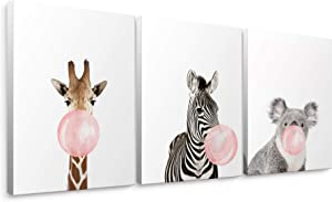 "Niwo Art - Giraffe Zebra Koala, Pink Bubble Gum Animals, Canvas Wall Art Home Decor, Gallery Wrapped, Stretched, Framed Ready to Hang (16""x12""x3/4"")"