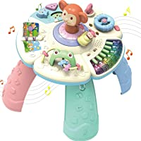 GoAppuGo Musical Learning Kids Activity Table for Kids with Piano, Rotating Car, Flip Book - Baby Birthday Gift for 1 Year Old boy Girl or 2 Year Old boy Girl, Musical Learning Toys for Babies