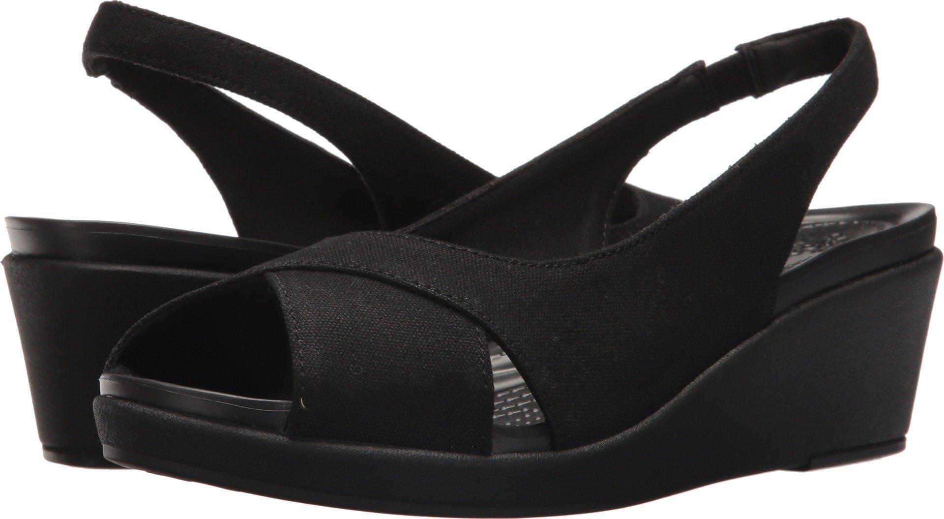 Crocs Women's Leigh Ann Slingback Wedge Sandal, Black/Black, 11 M US