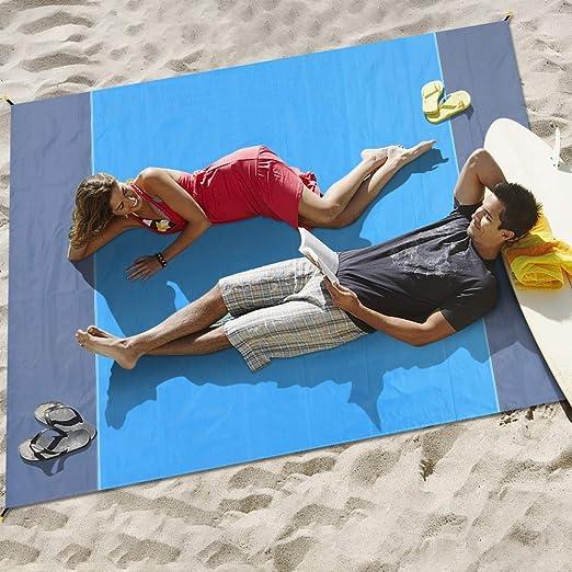 Afufu Alfombras de Playa, Toalla Playa Gigante 200 x 210cm, Manta Picnic Anti-Arena Impermeable con 4 Estaca Fijo para la Playa, Acampar, Picnic y Otra Actividad al Aire Libre (Azul + Gris):