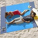 Afufu Alfombras de Playa, Toalla Playa Gigante 200 x 210cm, Manta Picnic Anti-Arena Impermeable con 4 Estaca Fijo para la Playa, Acampar, Picnic y Otra Actividad al Aire Libre (Azul + Gris)