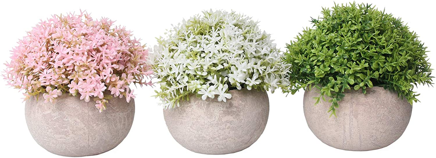 Artificial Plants,Fake Flowers Fake Plants Room Decor Artificial Green Fake Plant Artificial Plants in Pots for Home Decor Indoor ,Garden Office Wall Decoration Artificial Fake Flowers 3pcs (01)