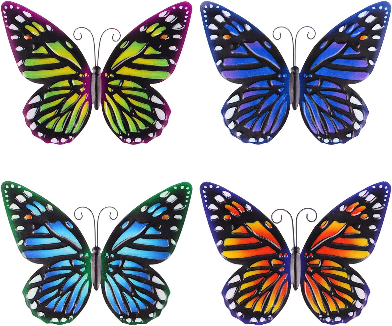 4PCS Metal Butterfly Wall Hanging Decoration,3D Wall Art Decor for Indoor or Outdoor,Set of 4 Butterflies Ornament for Garden,Patio,Fence,Garden,Yard,Gifts for Kids