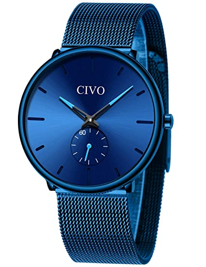 Relojes Negros para Hombre Reloj de Malla Impermeable de Acero Inoxidable para Hombres Reloj Elegante de Diseño Simple Cuarzo Analógico Relojes ...