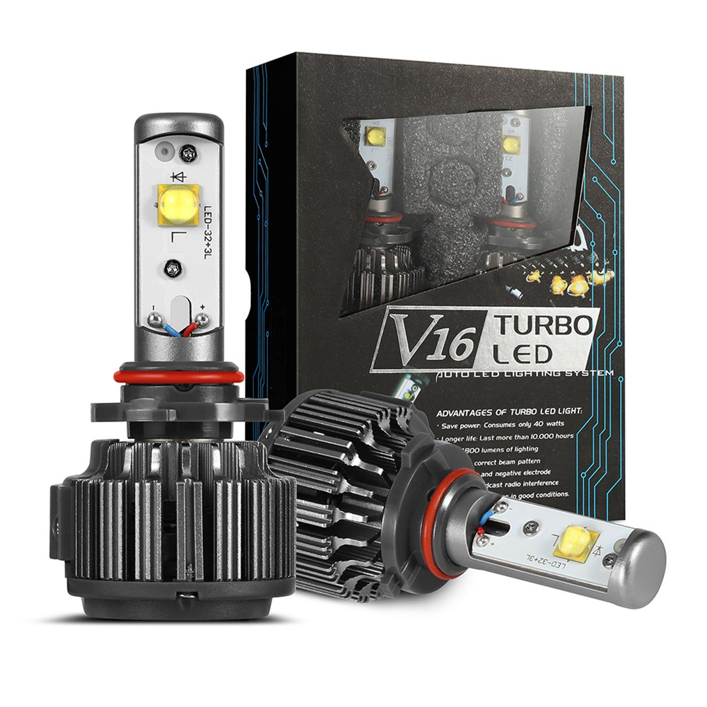 Led Headlight Bulbs H11h8h9h16 9600lm 6000k Car Headlight Lamp Super Bright Cree V16 Plug Play Easy Installation