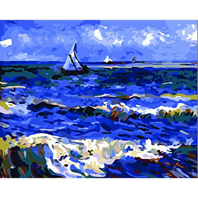 Greek Art Paintworks Paint Color By Number Kits,Seascape Near Les Saintes by Vincent Van Gogh,16-Inch by 20-Inch: Toys & Games