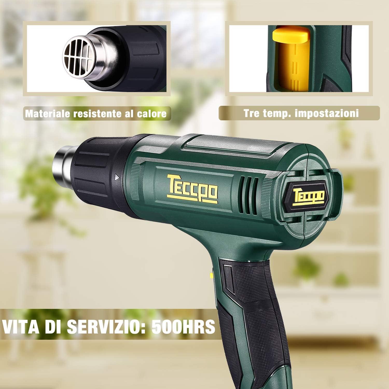 3 temp/ératures r/églables volume super air 500 l//min avec 5 accessoires pratiques pistolet thermique /électrique professionnel avanc/é 2000 W TECCPO TAHG07P Pistolet /à air chaud 50 /°C//480 /°C//600 /°C