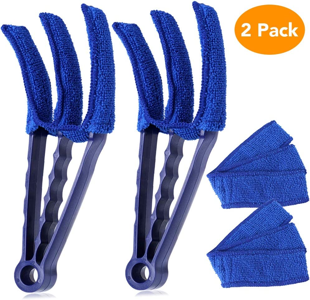 Blind Cleaner Tools, McoMce Multiple Uses Blind Cleaner, Microfiber Duster for Blinds, 2 PCS Clean Blinds, Window Blinds Cleaner, for Blinds, Shutters, Shades, Air Conditioner Vents Etc. Blue