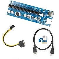 yikeshu PCIe PCI-E 16 X 8 X 4 X 1 X Powered Riser Adapter Card w/60 cm Cable de extensión USB 3.0 & 6-Pin PCI-E a SATA cable de alimentación - Adaptador de GPU Riser ethereum Mining Eth (1 PCS Pin)