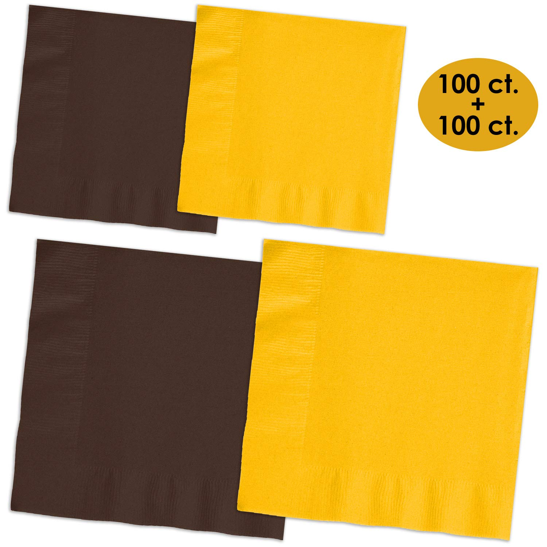 200 Napkins - Brown & Sunshine Yellow - 100 Beverage Napkins + 100 Luncheon Napkins, 2-Ply, 50 Per Color Per Type