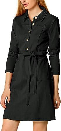 Black Long Sleeve Lace Button Front Cotton Blend Midi Shirt Dress