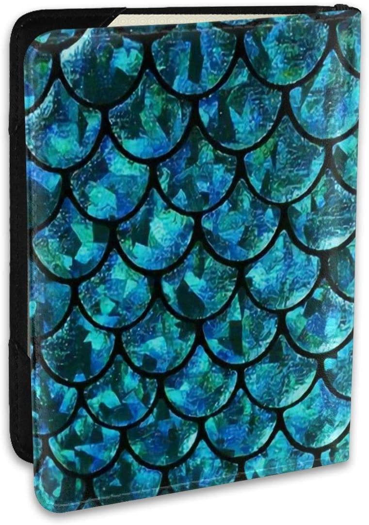 Sea Blue Mermaid Fashion Leather Passport Holder Cover Case Travel Wallet 6.5 In