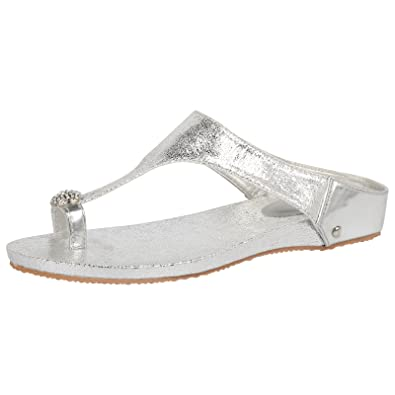 6da1feb95dac6 ByPublicDemand Candice Womens Flat Diamante Toe Ring Ladies Sandals Silver  Size 8 UK