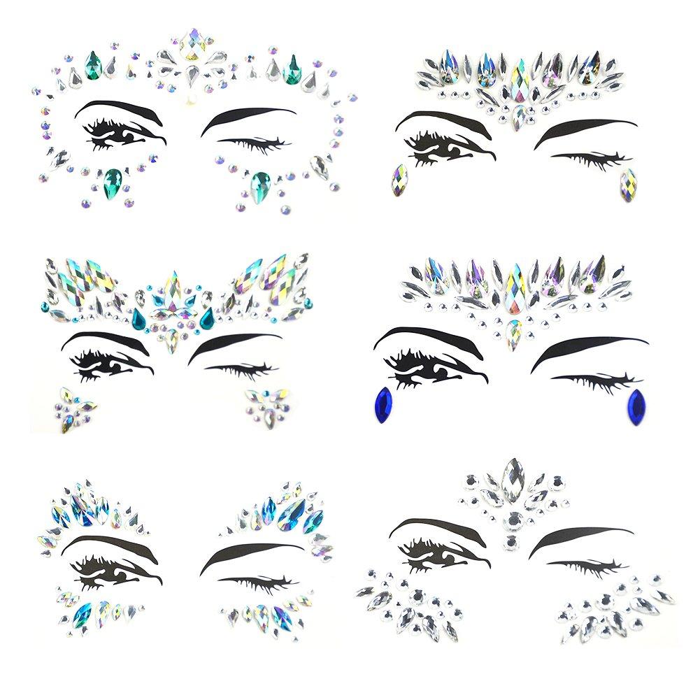 Weimi Face Gems Glitter Strass Tatuaggio Temporaneo Faccia Gioielli Cristalli Adesivi per il viso Sopracciglio Face Body Jewelry (6 pezzi)