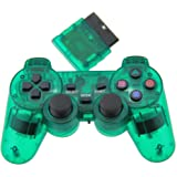 TPFOON Wireless Controller Double Vibration Gamepad For PS2 Playstation 2 (Clear Green)