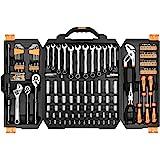 DEKOPRO 192 Piece Mixed Tool Kit Home Mechanics Repair Tool Set,Auto Repair Hand Tool Set Wrench Set with Plastic Toolbox Sto
