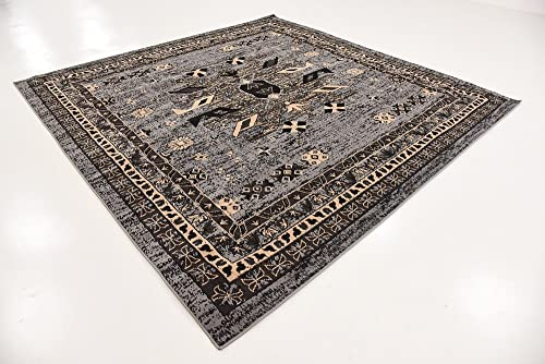 Unique Loom Taftan Collection Geometric Tribal Gray Square Rug 8 0 x 8 0