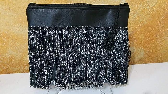 clutch, bolso, cartera de mano, de fiesta, con flecos