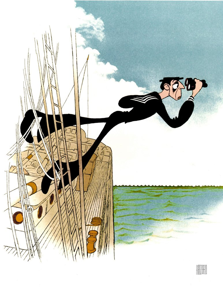 AL HIRSCHFELD Hand Signed, BUSTER KEATON in THE NAVIGATOR, Technicolor, Limited-Edition Lithograph THE MARGO FEIDEN GALLERIES LTD. New York