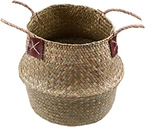 Small-Dream-Shop Seagrass Storage Basket Flower Pot Natural Rattan Basket Plant Pot Toys Holder Laundry Basket Container Home Decoration,Model 3,22x20 cm