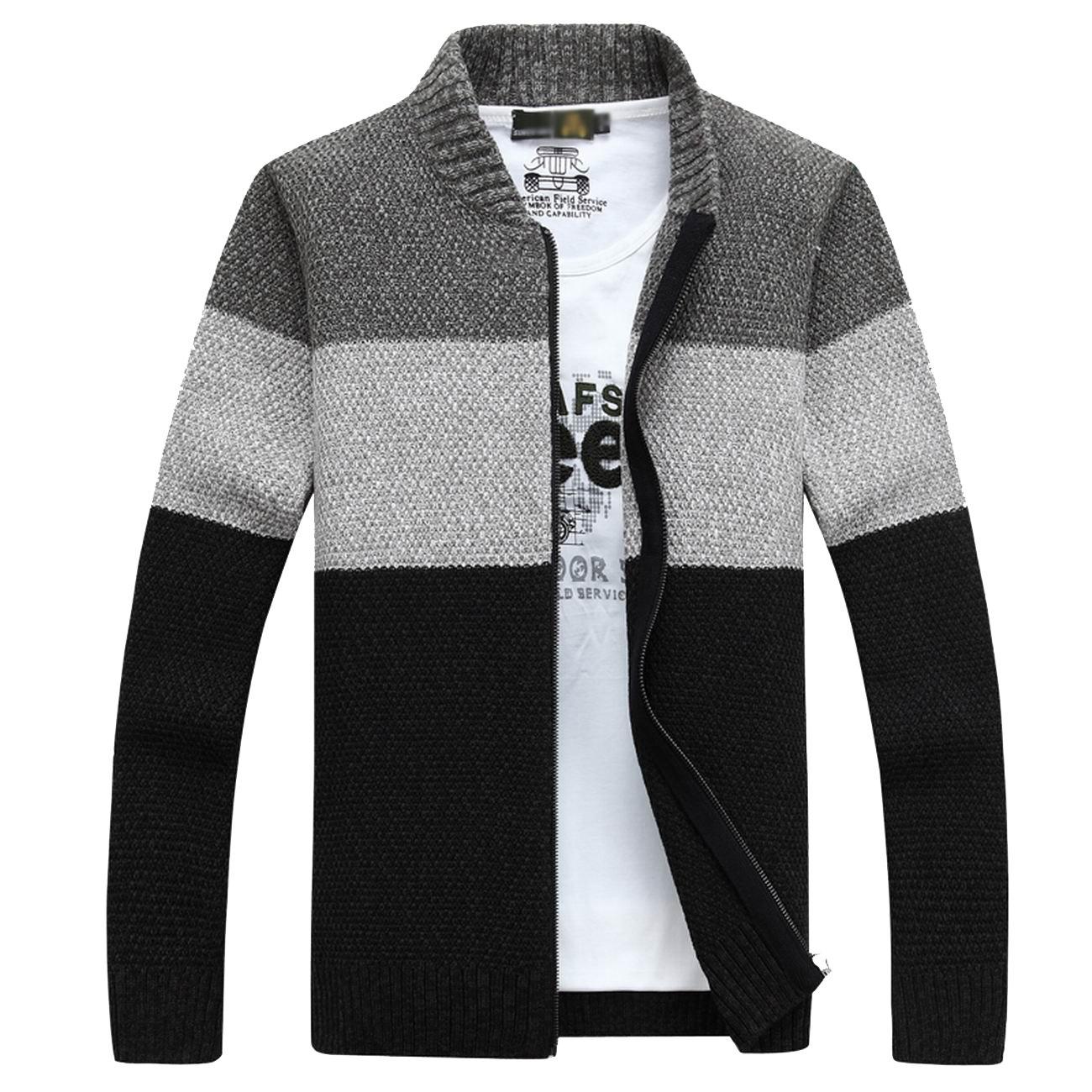 Fanhang Men's Knitted Zip Down Cardigan Sweater With Stripe (XXL, DARK GRAY)