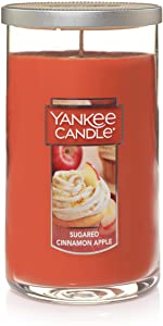 Yankee Candle Medium Pillar Jar Spiced Cinnamon Apple Scented Premium Grade Candle Wax with up to 110 Hour Burn Time