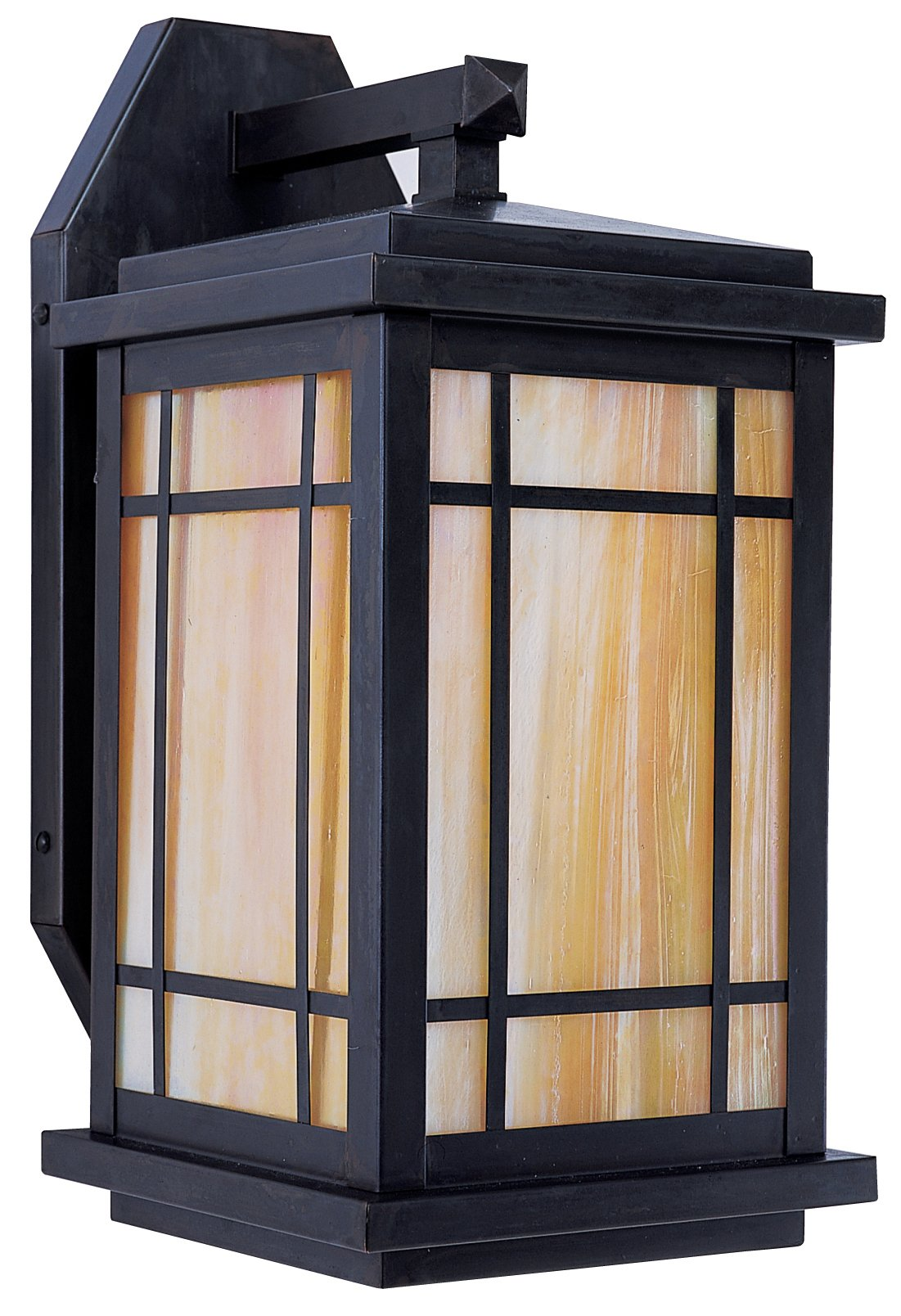 Arroyo Craftsman AVB-8GW-BZ Avenue Wall Bracket with Gold/White Iridescent Glass, 8'', Bronze Finish by Arroyo Craftsman