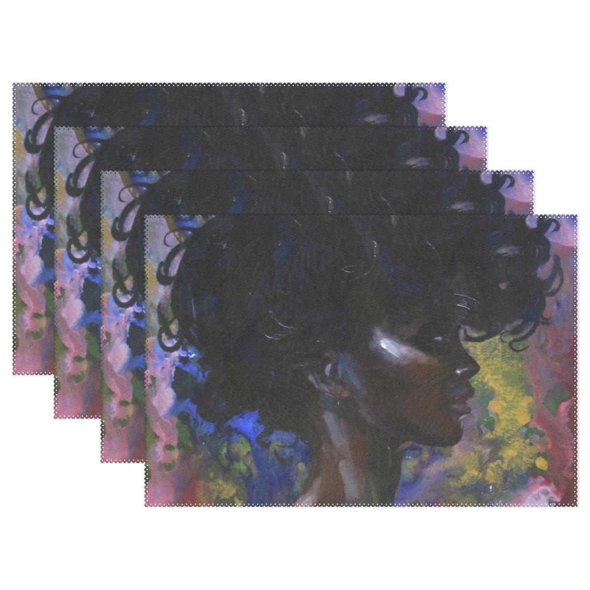アフリカ女性アート印刷、プレースマットalirea耐熱プレースマット汚れ防止滑り防止洗濯可能ポリエステルテーブルマット非スリップ洗濯可能プレースマット、12
