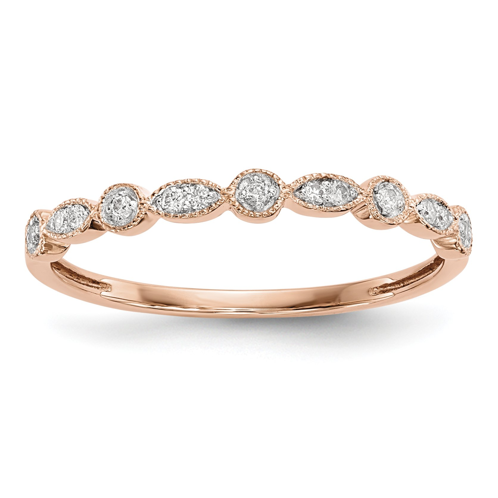 ICE CARATS 14k Rose Gold Diamond Band Ring Size 6.75 Fine Jewelry Gift Set For Women Heart