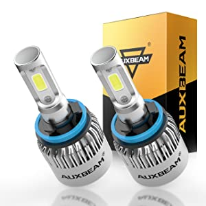 Auxbeam LED Headlights F-S2 Series H11 LED Headlight Bulb with 2 Pcs of H11 LED Conversion Kits 72W 8000LM Bridgelux COB Chips Fog Light - 1 Year Warranty