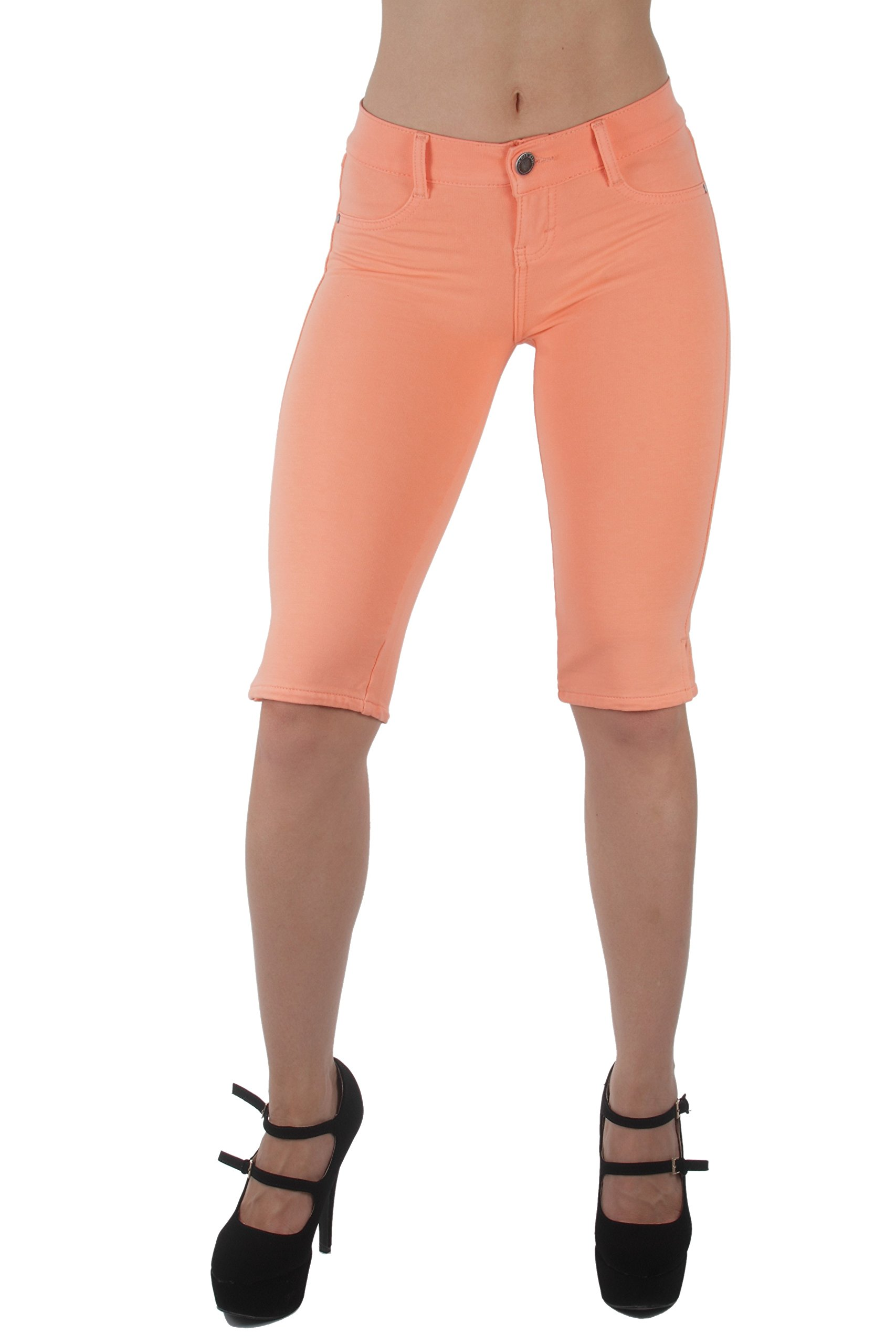 Basic Bermuda Shorts Premium Stretch French Terry Moleton With a gentle butt lifting stitching in Cantaloupe Size XL