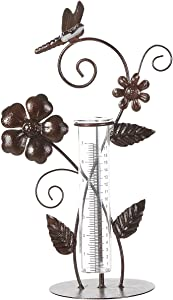 """7"""" Dragonfly Metal and Glass Spring Rain Gauge,Outdoor Decor"""