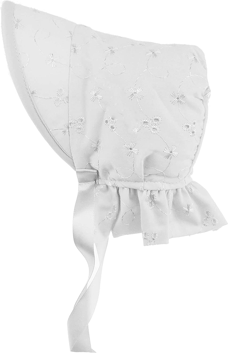 0-3 Months, Pink Glamour Girlz Beautiful Baby Girls Broderie Anglais Ribbon Lace Fringe Trim Baby Bonnet Beanie Sun Hat
