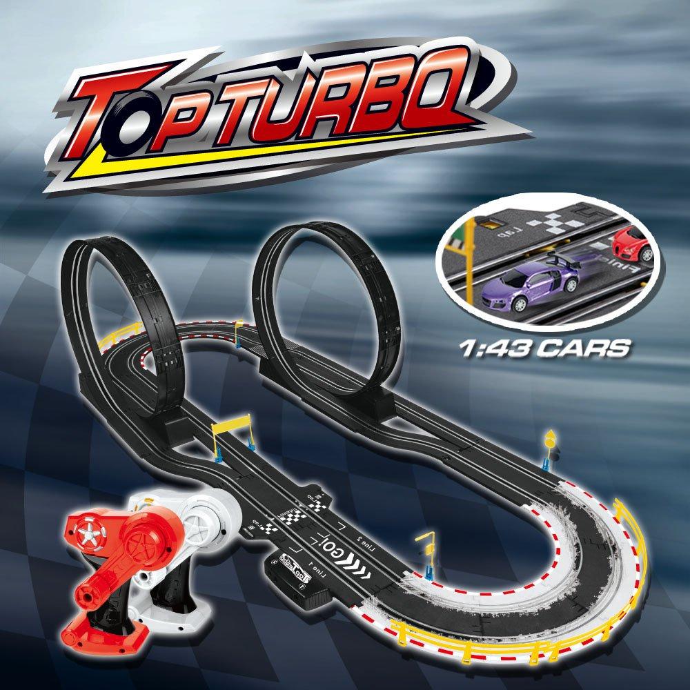 deAO Top Turbo Pista de Carreras Set 1:34 Coches Slot - Eco Power Diseño Lazo Doble para Principiantes y Experto (4.9 Metros): Amazon.es: Juguetes y juegos