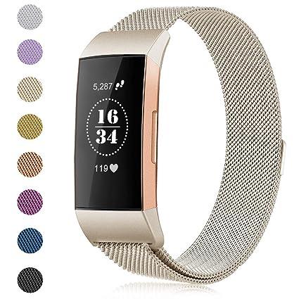 Gogoings Para Fitbit Charge 3 Correa - Pulsera de Reemplazo Ajustable Acero Inoxidable Banda Compatible con