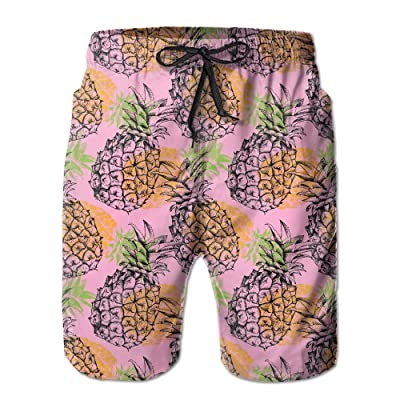 Aloha Narwhal Triple Pineapple Banana Men Boardshorts Quickly Drying Swim Trunks Board Shorts with Pocket 1X Big|Summer Tropical Fruit Pineapple-Pink