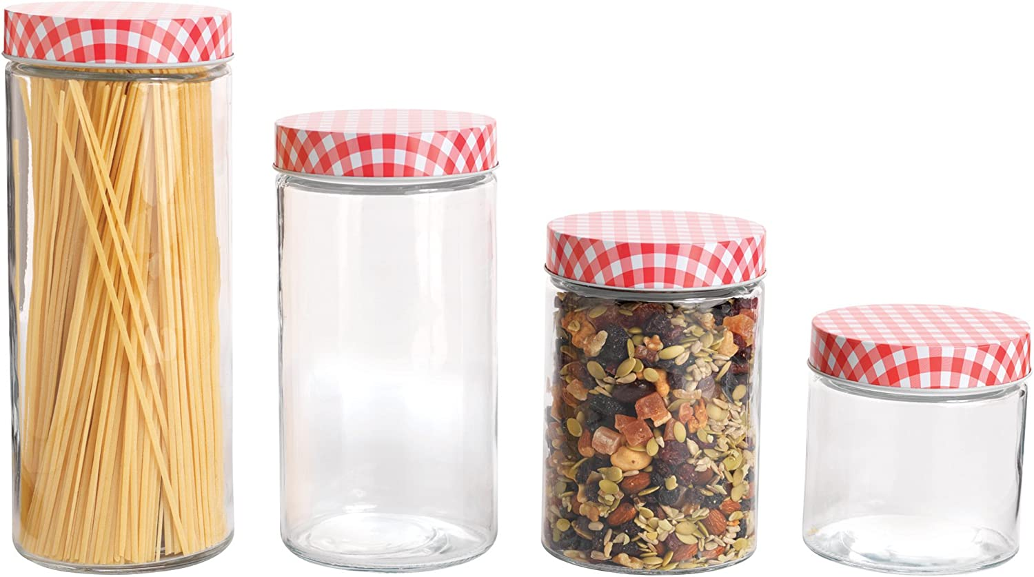 Anchor Hocking 4 Piece Glass Cylinder Jar Set with Gingham Lids, Clear/Red: Kitchen & Dining