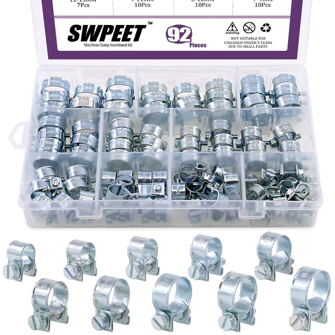 Swpeet 92Pcs 10 Sizes Zinc Plated Mini Fuel Injection Line Style Hose Clamp Assortment Kit Perfect for Automotive, Agriculture, Plant & Construction
