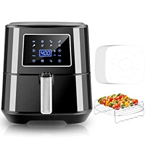 Bear 6 Quart Air Fryer, 1700W Air Fryer Oven Oilless Cooker with Digital Touch Screen 7 Presets Temperature Control Nonstick Basket and Accessories Including Recipe Book