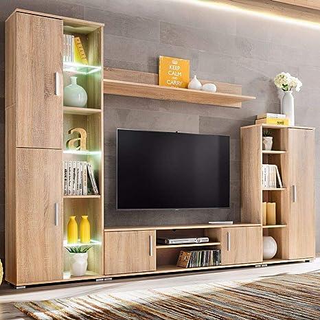 Festnight Muebles Place-Salón Comedor Moderna de Pared para TV con Luces LED Roble Sonoma: Amazon.es: Hogar