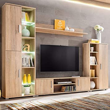 Xingshuoonline Mueble de Salón de Pared para TV con Luces ...