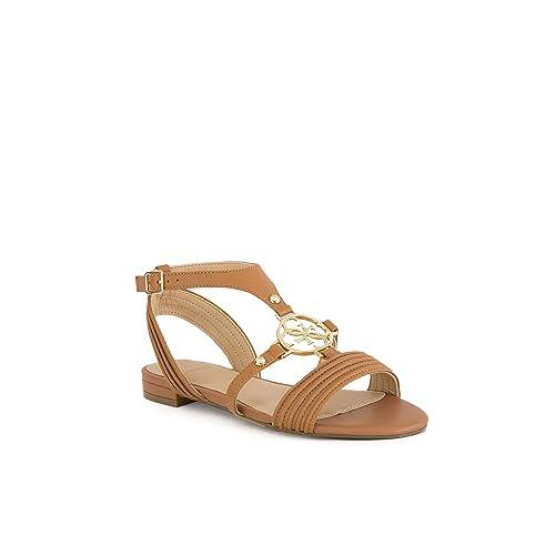 45a44c1962e GUESS Sandalias FLRYEI LEA03 Color Camel  Amazon.es  Zapatos y complementos