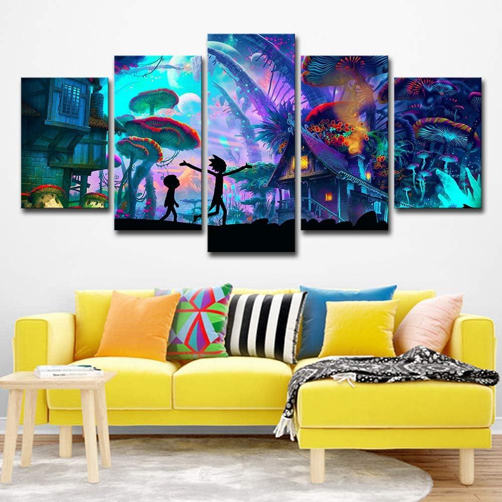 ZEMER Wand-dekor Rick and Morty Poster Wandkunst Bild Leinwanddrucke Malerei 5 Panels Modern F/ür Kinderzimmer Home Decor,A,20x30x2+20x40x2+20x50x1