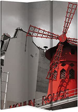 B&F Biombo Design 160 x 150 cm 4 Paneles Moulin Rouge Paris (una Cara): Amazon.es: Hogar
